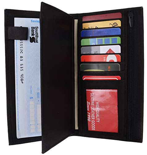 Genuine Leather Checkbook Cover Wallet Organizer with Credit Card Holder (Black)