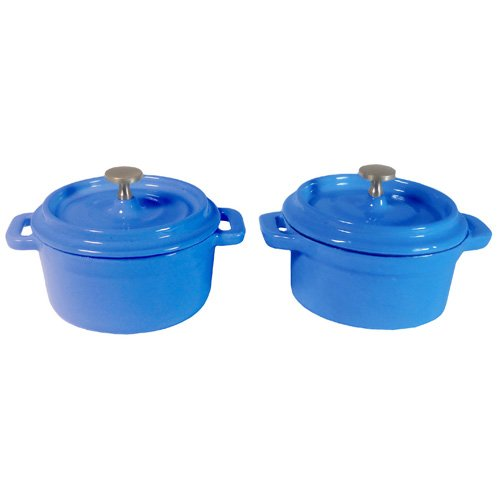 Fancy Cook 4 Pieces Enamel Cast-Iron Blue Round Mini Casserole Set