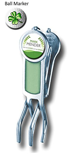 Mark Mender Golf Divot Repair Tool, Cigar Holder & Grip Rest, Repairs Ball Marks The Right Way, Magnetic Ball Marker, Holds Cigars, and Keeps Putters & Wedges off Wet Grass (Green)