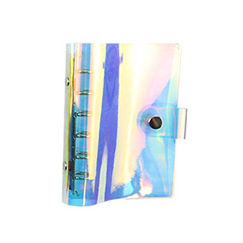 Personal A7 Pocket Size 4.3x5.7 Inch 6-ring Rainbow Binder Covers Colorful Soft PVC Notebook Round Ring Binder Cover Protector Snap Button Closure Loose Leaf Folder (Colorful, A7 (110mm x 145mm))