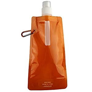 Healthy Portable folding sports water bottle/foldable water bag 480ml (Color is random)