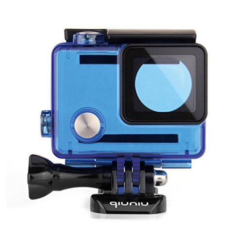 Waterproof Dive Housing Case for GoPro Hero 4, GoPro Hero 3 and GoPro Hero 3+ Action Camera - Up to 40 Meters (131 feet) Underwater - Transparent Blue