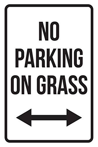 No Parking On Grass Right And Left Arrow Business Safety Traffic Signs Black - 12x18 - Plastic by iCandy Products Inc