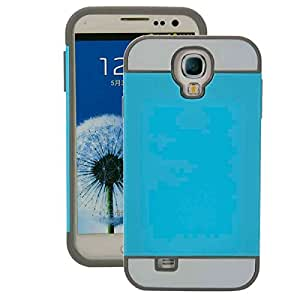 2-in-1 Color PC TPU shield Case for Samsung S4 i9500 Sky Blue & Gray