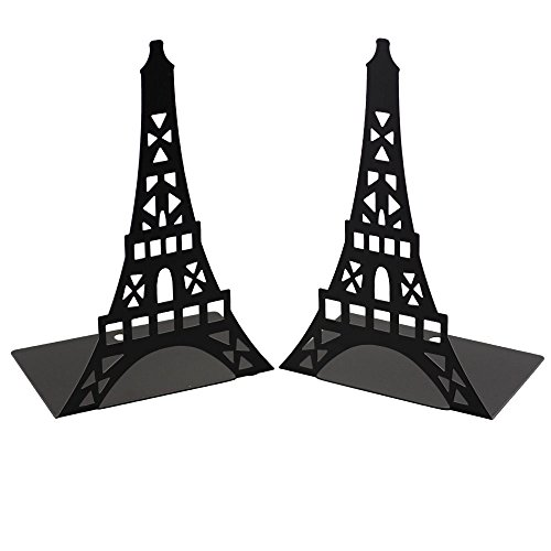 Bolbove Novelty Eiffel Tower Bookends 1 Pair Metal Book Stands (Eiffel Bookcase Stand)