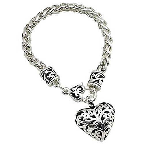 Bracelet Chain Foxtail (Swirl Heart Etched Bracelet Foxtail Chain by Fashion Leader)