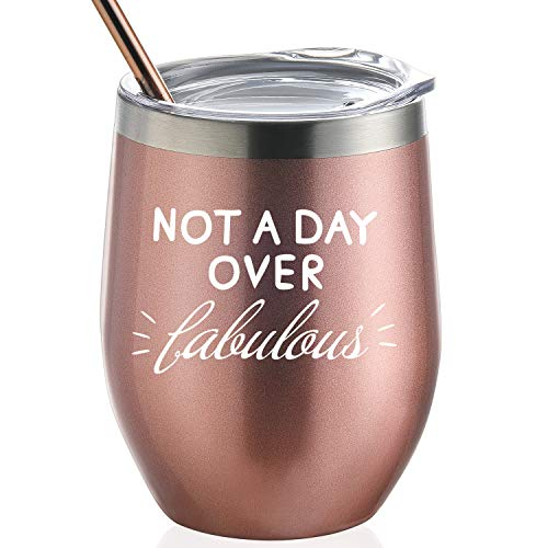 Not A Day Over Fabulous | Birthday Gift for Women | 12 oz Stainless Steel Wine Tumbler with Lid and Straw | Perfect Wedding, Christmas,Valentine's Gift for Women -