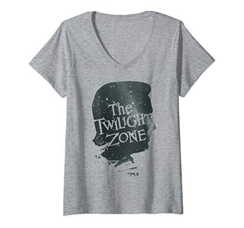 Womens Twilight Zone Galactic Icon Face Profile V-Neck T-Shirt ()