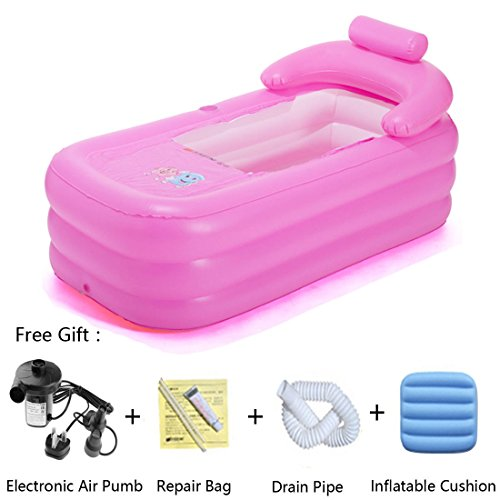 WQWL Widen and Thicken Adult Portable Environmental PVC Folding Inflatable Air Bath Tub with Electronic Air Pump for Bathroom SPA,Children Swimming Pool etc.(160×82×75cm) (Pink)