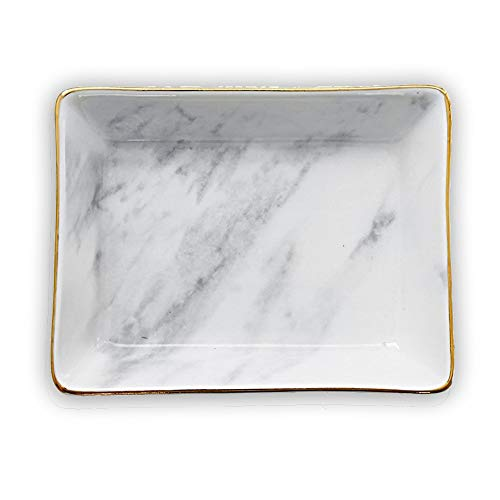 Marble Ceramic Jewelry Tray Ring Dish Ring Holder Display Organizer with Golden Edged Wedding Valentine's Day Housewarming Gift (Grey (Small))
