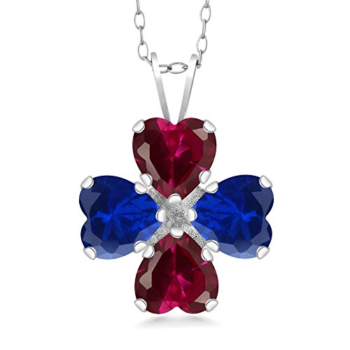 - Gem Stone King 3.84 Ct Red Created Ruby Blue Simulated Sapphire 925 Sterling Silver Pendant