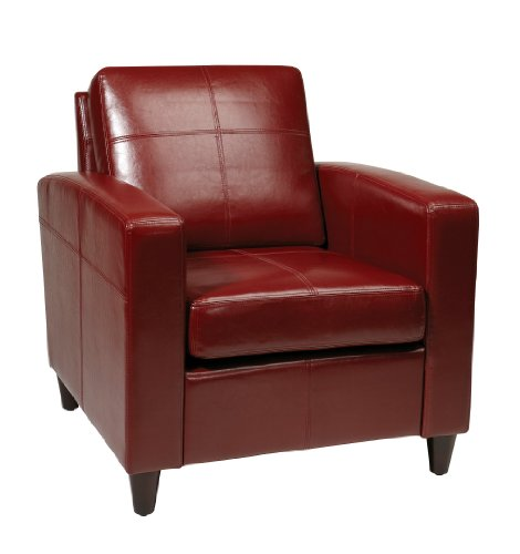 Ave Six Venus Bonded Leather Club Chair with Espresso Finish Legs, Crimson Red