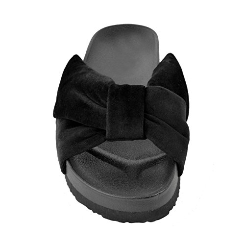 Fashion Thirsty Heelberry® Womens Ladies Black Flat Summer Sliders Sandals Comfort Cushioned Bow Size New Black Velvet YpLRz