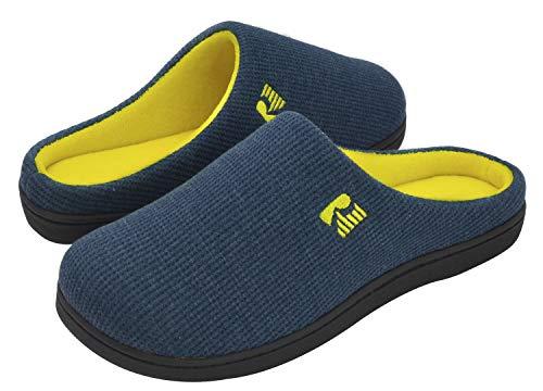 RockDove Men's Original Two-Tone Memory Foam Slipper, Size 10.5 US Men, Blue/Maize