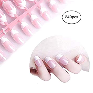Amazon.com: Siusio uñas postizas francesas, color rosa ...
