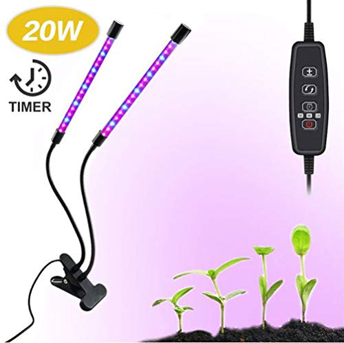 20W LED Grow Light with 40 Red Blue Spectrum LEDs, Adjustable Dual Head Timing Growing Lamp, 9 Dimmable Levels, 3/9/12H Timer(20W)