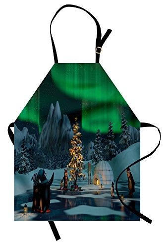 Ambesonne Aurora Borealis Apron, Penguins on Frozen Lake with Christmas Tree Noel Arctic Circle Design, Unisex Kitchen Bib Apron with Adjustable Neck for Cooking Baking Gardening, Lime ()