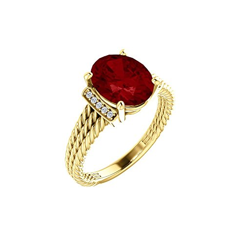 Bonyak Jewelry Lab-Created Ruby 14k Yellow Gold Chatham Created Ruby & .04 CTW Diamond Ring - Size 7