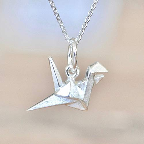 4dd86430fb6c8 Origami Crane Necklace in Sterling Silver with 18 Inch Chain