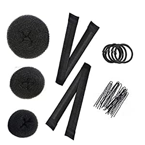 Donut Hair Bun Maker Hair Styling Accessories Kit For Women Girl 3 Pieces Ring Style Donut Bun Maker Set with 2 Hair Bun Makers 5 pieces Hair Elastic Bands, 20 pieces Hair Pins Black