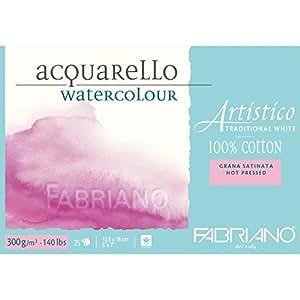 """Fabriano Artistico 140 lb. Hot Press 25 Sheet Block 5x7"""" - Traditional White"""