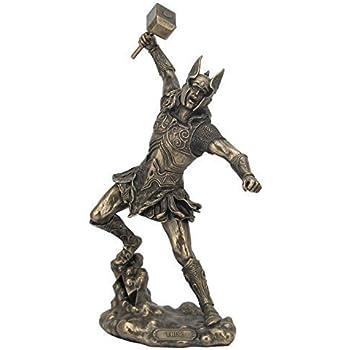 UNICORN STUDIO Bronze Finish Norse God Thor with Hammer Statue Sculpture Viking Mythology