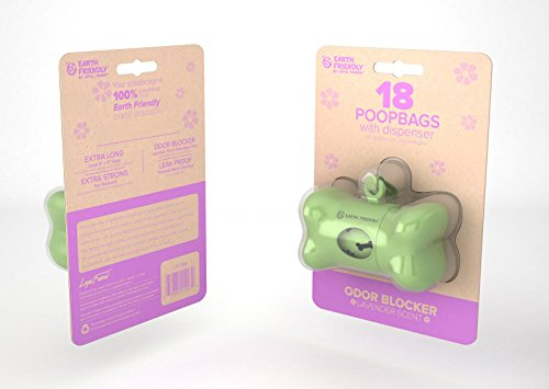 Earth Friendly® Dog Waste Bag Dispenser with 18 Count Lavender Scented (Solid Core Bone)