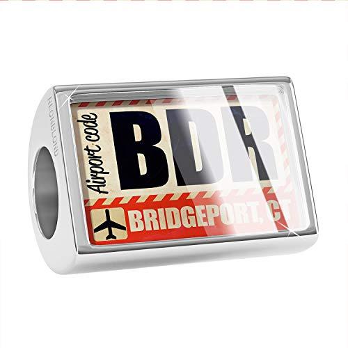 - NEONBLOND Charm Airportcode BDR Bridgeport, CT Bead
