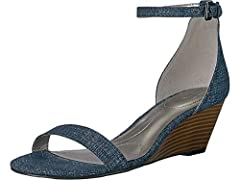 Delight in the delicate lines of the Bandolino® Omira wedge sandal. Available in a variety of uppers. Halo strap with adjustable buckle closure. Round, open-toe silhouette. Synthetic lining and insole. Lightly padded footbed. Wrapped wedge he...