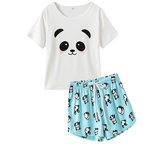 VENTELAN Pajama Women Cute Panda Sleep Tee Shirt Shorts Set Summer Sleepwear
