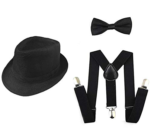 1920s Set Fedora Gangster Hat Costume Accessory Y-Back Suspenders & Pre Tied Bow Tie,Men's Roaring 1920s Set Manhattan Fedora Hat bigger kids(Small Size) (black) -