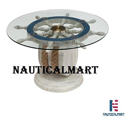 Unique Wood Ship Wheel Nautical Theme Decorative Coffee Table by NauticalMart]()