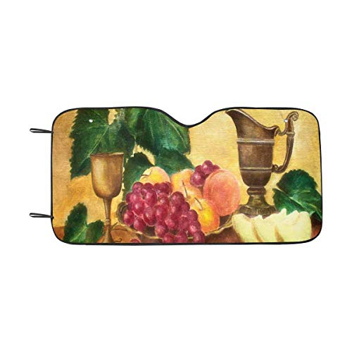 InterestPrint Still Life with Melon Grapes Wine Front Windshield Sun Shades, Accordion Folding Auto Sunshades for Car Truck SUV ()