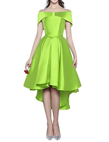 Kevins Bridal High Low Short Bridesmaid Dresses Cap Sleeves Off Shoulder Prom Dress Lime Size 16