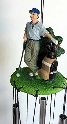 Golfer Golf Statue Wind Chime 24 Inches Long -