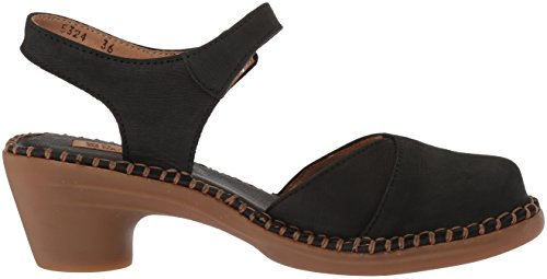 El Naturalista Women's N5324 Pleasant Black/Aqua Heeled Sandal Black 2glL6EpE