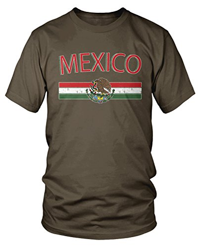 Amdesco Men's Mexican Flag and Coat of Arms, Mexico T-shirt, Dark Chocolate XL (Coat Of Arms Dark T-shirt)