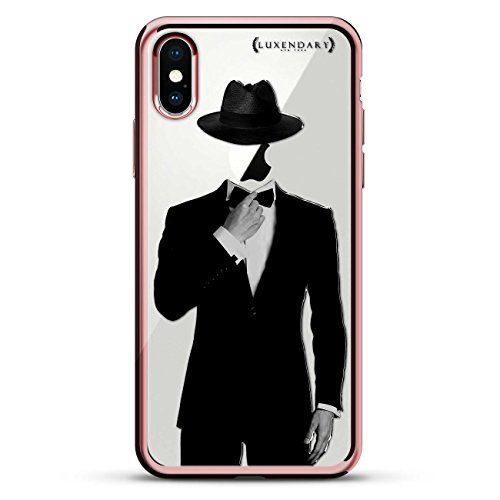 TUXEDO AND HAT   Luxendary Chrome Series designer case for iPhone X in Rose Gold trim