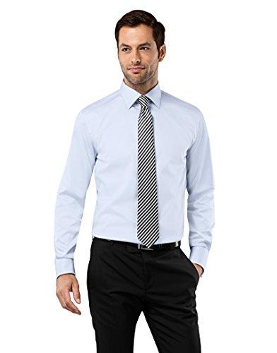 Vincenzo Boretti Men's Shirt Regular-fit Double Cuff uni No ice-Blue 15.75