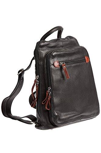 Macy Leather Backpack Handbag, BLACK/WHISKEY, Size 1 Size by Overland Sheepskin Co