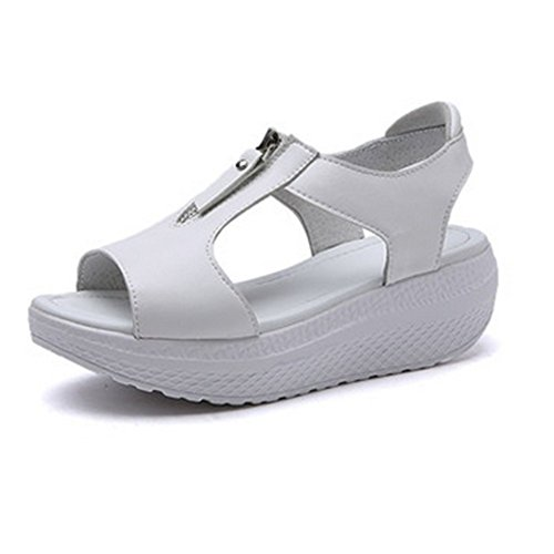 Aksautoparts Mode Kvinnor Flicka Läder Sommar Dragkedja Skor Flops Sandaler Sneakers Us4.5 = Eu35 = 8.86in Fot Längd