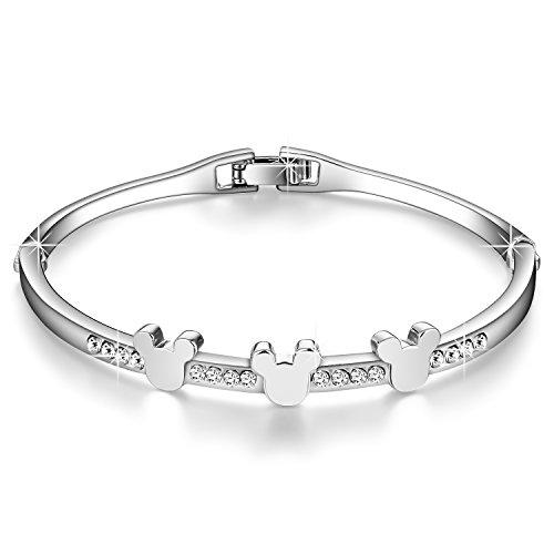 Menton Ezil 925 Silver Plated White Crystal Bangle Bracelet for Teen Girls Thanksgiving Christmas