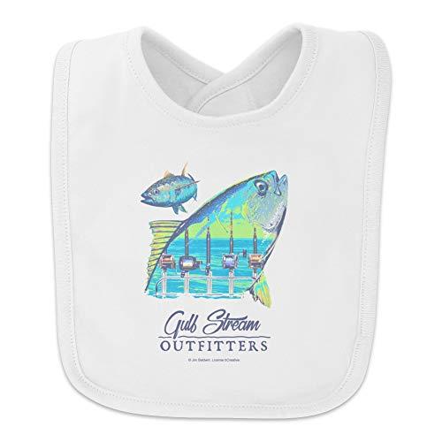 Gulf Stream Outfitters Yellowfin Ahi Tuna Ocean Fishing Baby Bib - White (Wht Fin)