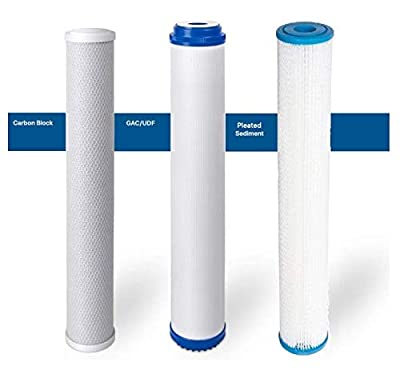 """Premier Water Systems triple Slim Big Blue Whole House Water Filtration System with KDF 55 Filter (3-Stage, 2.5"""" x 20"""")- Chlorine Removal"""
