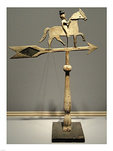 Horse Weathervane 30 - Rider on Prancing Horse Weathervane Art Print, 23 x 30 inches