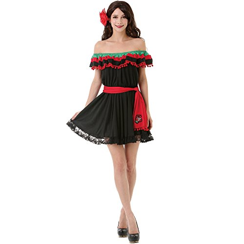 Spicy Senorita Women's Halloween Costume Mexican Fiesta Flamenco Dancer Dress,Medium,Black (Woman Mexican Costumes)