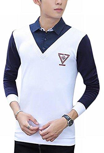 Due Camicia Color Bianca uk Oggi Camicetta Pullover Falsificazione Mens Pezzi Block zXP6Uq