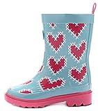 Outee Girls Kids Wellies Wellingtons Rain Boots Waterproof Rubber Boots Children Pink Heart Print Rear Puller Cute Design (Size 2)