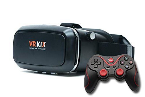 VRKIX Virtual Reality 3D Glasses VR Viewer Headset for 360 Degree Video and Games for Smartphones with Universal Controller Android Compatible Bluetooth Gamepad