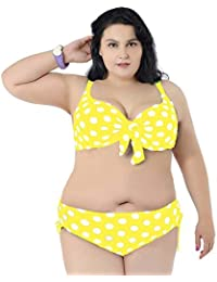 3af998e0bd536 ... Clothing   Swimsuits   Cover Ups   6X   Yellows. Women s Yellow And  White Plus Size Polka Dot Print Knotted Bikini Top And Bottom